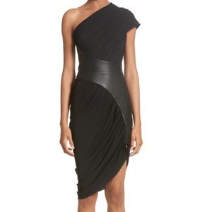 NWT Alexander Wang One Shoulder Dress with Leather